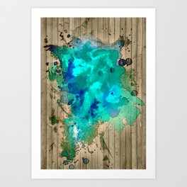 blue splatter Art Print