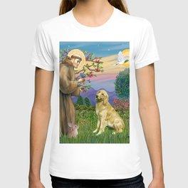 Saint Francis and a Golden Retriever T-shirt