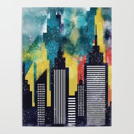 New York City Skyscrapers In Watercolor Art, New York Poster, Wall Art Home Decor, City Skyline Art Poster