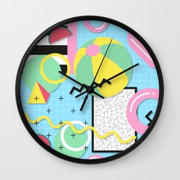 Memphis Eighties Summer Pool Party Wall Clock