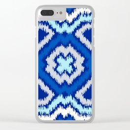 IKAT pattern, indigo blue and white, 06 Clear iPhone Case