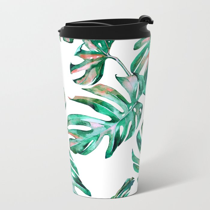 Green Coral Palm Leaves Metal Travel Mug