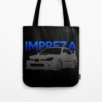 subaru Tote Bags featuring Subaru Impreza 2006 by Vehicle