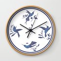 Delft Blue Humming Birds & Leaves Pattern by artz_onsociety