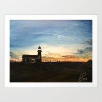 Lighthouse Field Sunset Art Print