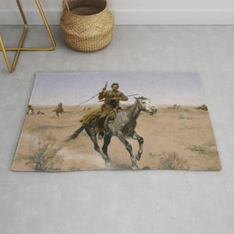 "Frederic Remington Western Art ""The Flight"" Rug"