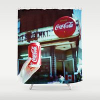 coca cola Shower Curtains featuring Drink Coca Cola by Devic Fotos