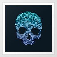 Labyrinthine Skull - Neon Art Print