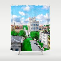 allyson johnson Shower Curtains featuring Historic Savannah - Vintage View Over Johnson Square by Mark E Tisdale