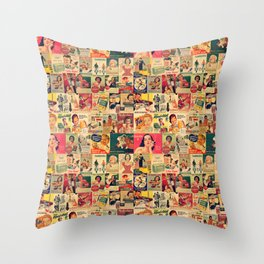 Retro Ads Throw Pillow