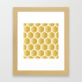 Honeycomb pattern - gold Framed Art Print