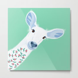 Deer in the Nature with Flowers Metal Print