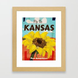 Kansas Vintage sunflower Travel Poster Framed Art Print