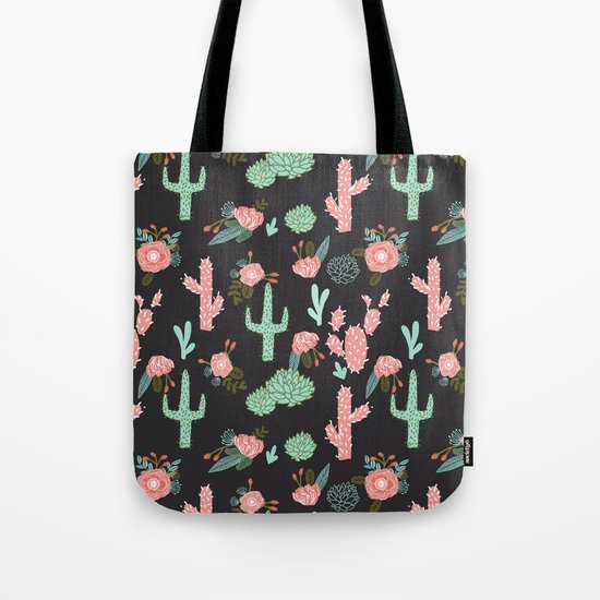 Cactus florals dark charcoal colorful trendy desert southwest house plants cacti succulents pattern Tote Bag