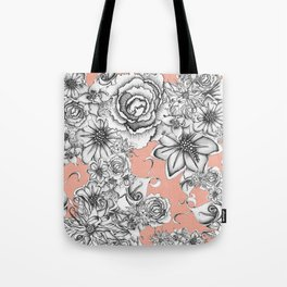 B&W Flowers Coral Tote Bag