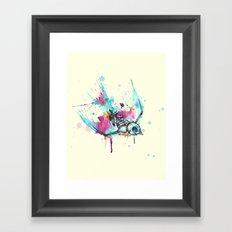 Swallow Skeleton Bird Watercolor Framed Art Print
