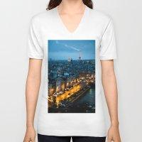 paris V-neck T-shirts featuring Paris by Luca Spanu