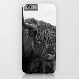 Highland Cow in black and white | Scottish Highlanders, cattle, cows in the Netherlands | Wild animals | Fine art travel and nature photography art print iPhone Case