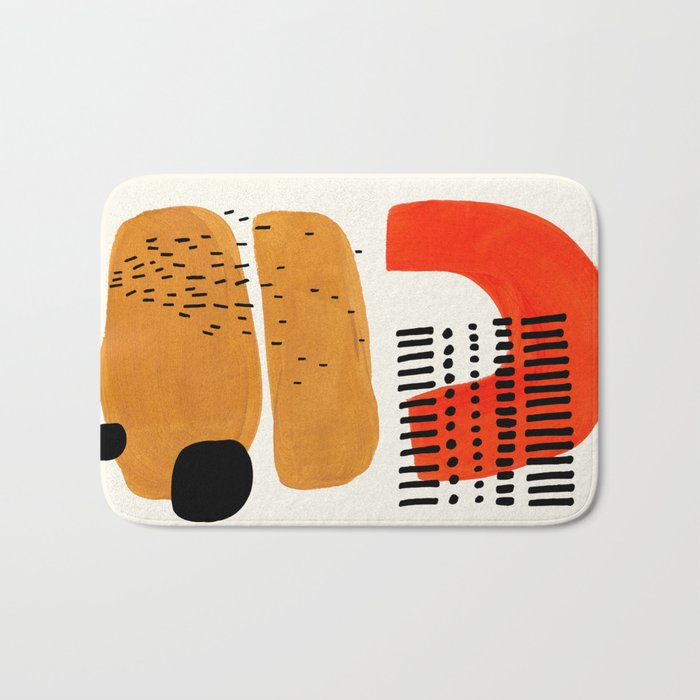 Mid Century Modern Abstract Minimalist Retro Vintage Style Fun Playful Ochre Yellow Ochre Orange  Bath Mat