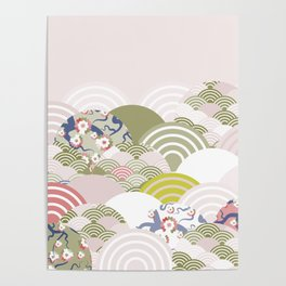 scales simple Nature background with japanese sakura flower, rosy pink Cherry, wave circle pattern Poster