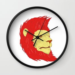 Lion Head With Flowing Mane Drawing Wall Clock