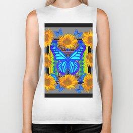 Black Grey Sunflowers Blue Butterflies Pattern Biker Tank