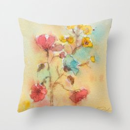 Vintage flowers (watercolor) Throw Pillow