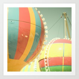 Up Up & Away I Carnival, fair, ride, hot air balloon, whimsical, fun rainbow, adventure, pastel,  Art Print