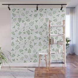 Green Leaves Design on White Wall Mural
