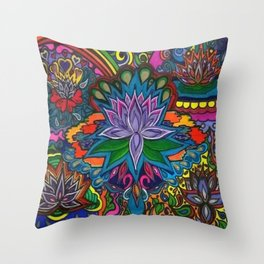 Lotus Flower Psychedelic Dreams Throw Pillow