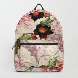 Vintage & Shabby Chic Pink Floral Peonies Flowers Watercolor Pattern Backpack