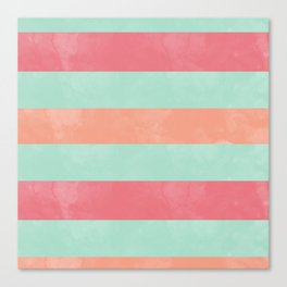 Oui Oui Mon Cheri Throw Pillow with Mint and Pink Stripes Canvas Print