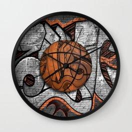 Black Basketball Graffiti on Brick Wall Wall Clock
