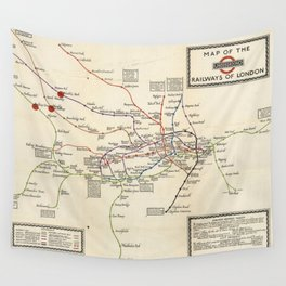 Vintage Map of The London Underground (1923) Wall Tapestry
