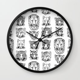 Kickass Kitties - black on white Wall Clock