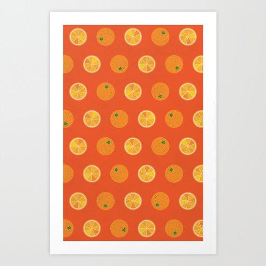 Cute Oranges Picture Pattern Art Print