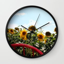 Sunflowers by a Red Chair Wall Clock