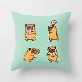 Donut Skip Legday with The Pug Throw Pillow