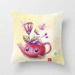 Teatime garden Throw Pillow