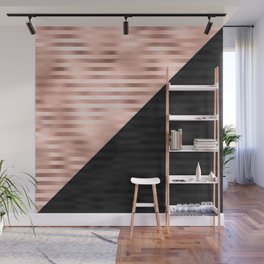 Modern Chic Pink Rose Gold Black Triangle Cut Wall Mural