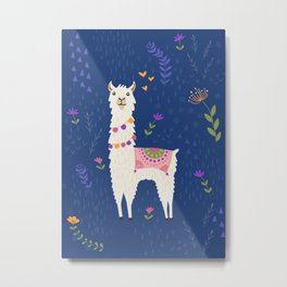 Llama on Blue Metal Print