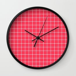 Sizzling Red - fuchsia color - White Lines Grid Pattern Wall Clock