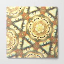 1970's Beige and Yellow Hexagon Pattern Metal Print