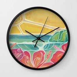 Triple Hibiscus Surf Art by Lauren Tannehill Art Wall Clock