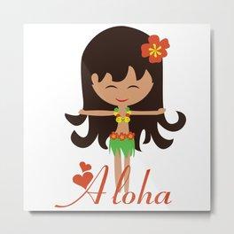 Aloha girl Metal Print