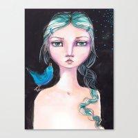 jane davenport Canvas Prints featuring Blue Bird by Jane Davenport by Jane Davenport