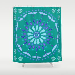 Sea Glass Sun and Flower Mosaic Shower Curtain