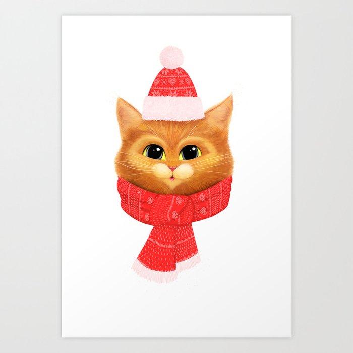 Winter kitty Art Print