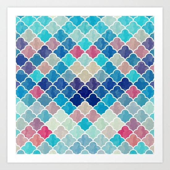 Watercolor Lovely Pattern VVXV Art Print