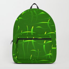 Bright green stems with bright highlights on a grassy background. Backpack